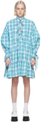 MSGM Blue Poplin Check Long Sleeve Dress