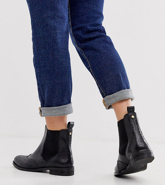 Dune Parks leather chelsea boot in wide fit-Black