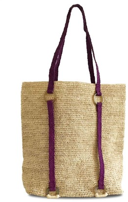 Maraina London Aurore Raffia Beach Tote Bag In Natural Beige