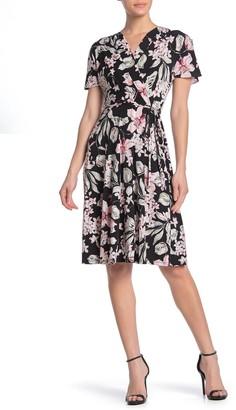 Sandra Darren Textured Floral Mock Wrap Dress