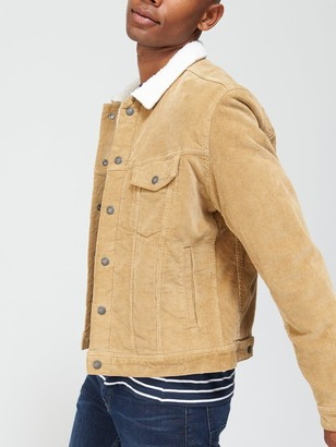 Jack and Jones Alvin Corduroy Borg Collar Jacket - Kelp