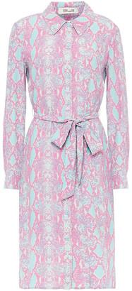 Diane von Furstenberg Kadina Belted Snake-print Crepe Shirt Dress