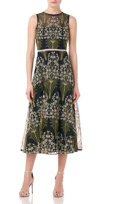 ML Monique Lhuillier Embroidered Mesh Cocktail Dress