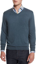 Neiman Marcus Cashmere-Silk V-Neck Sweater, Nightingale
