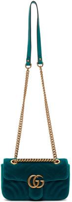 Gucci Blue Mini Velvet Marmont 2.0 Bag