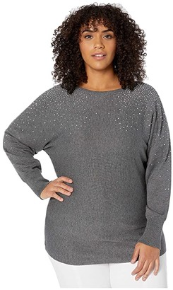 Vince Camuto Specialty Size Plus Size Long Sleeve All Over Embellished V-Neck Sweater