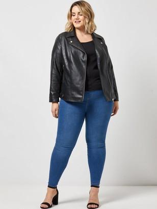 Dorothy Perkins Curve PU Biker Jacket - Black