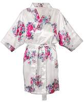 Cathy Women's Bride Satin Floral Robe - S/M