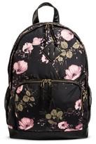 Mossimo Women's Floral Satin Backpack Handbag Black/Pink