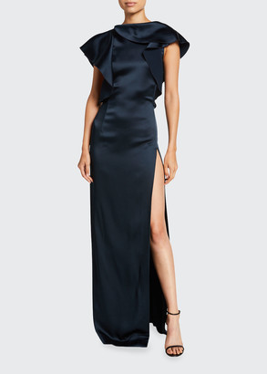 Oscar de la Renta Satin Ruffled High-Neck Gown