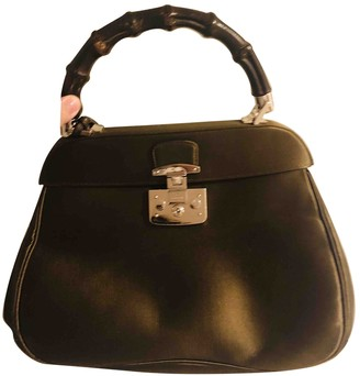 Gucci Bamboo Green Silk Handbags