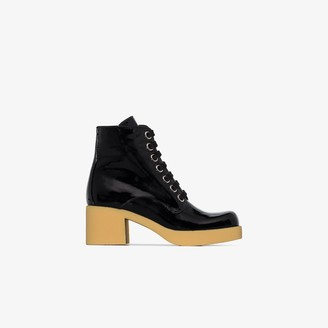 Miu Miu Black 60 chunky patent leather ankle boots
