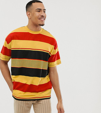 Asos Design DESIGN Tall oversized organic cotton t-shirt with thick retro stripe-Yellow