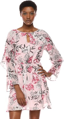 Cupcakes And Cashmere Women's rosea Printed Textured Chiffon Dress with Ruffle Detail