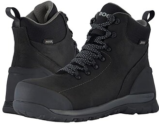 Bogs Foundation Leather WP Mid Comp Toe (Black) Men's Rain Boots
