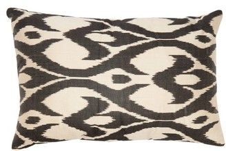 Les Ottomans - Ikat Silk Cushion - Black White
