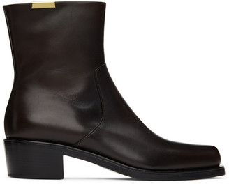 Rochas Homme Brown Leather Zip-Up Boots