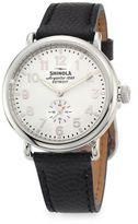 Shinola Runwell Chronograph Stainless Steel Football Leather Strap Watch