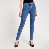 River Island Blue biker Amelie super skinny jeans