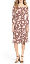 Soprano Women's Off The Shoulder Floral Print Fit & Flare Dress