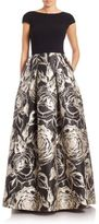 Theia Crepe Top Printed Ball Gown