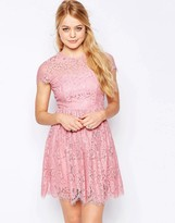 Glamorous High Neck Lace Skater Dress