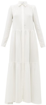 Roche Ryan Tiered Silk Maxi Shirtdress - Womens - White