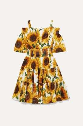 Dolce & Gabbana Cold-shoulder Tiered Floral-print Cotton-poplin Mini Dress - Yellow