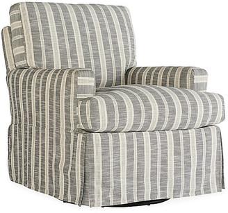 One Kings Lane Sadie Slipcover Swivel Chair - Midnight Stripe