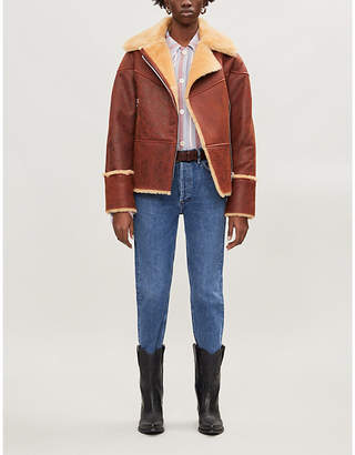 Sandro Shearling aviator jacket