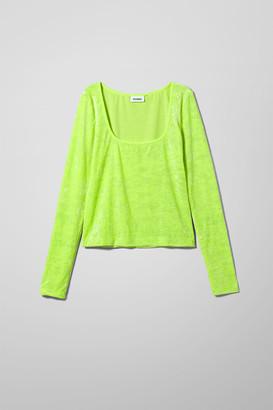 Weekday Norah Velvet Long Sleeve - Green