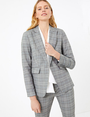 Marks and Spencer Tailored Checked Single Breasted Blazer