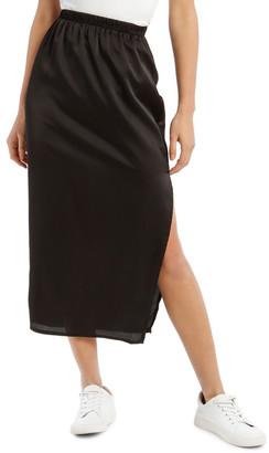 Missguided Black Satin Midi Slip Skirt