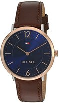 Tommy Hilfiger Men's 'Sophisticated Sport' Quartz Gold and Leather Casual Watch, Color:Brown (Model: 1710354)