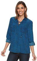 Apt. 9 Women's Croft & Barrow® Lace-Up Blouse
