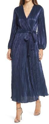 Bardot Melissa Long Sleeve Plisse Faux Wrap Midi Dress