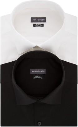 Van Heusen Men's Slim Fit Wrinkle Free Stretch Dress Shirt (2 Pack)