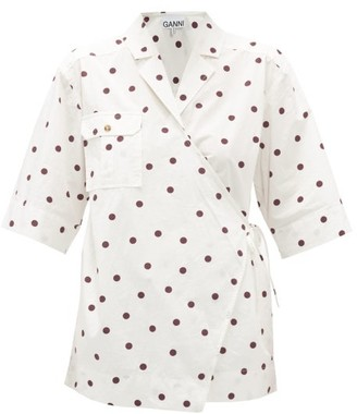 Ganni Polka-dot Poplin Wrap Shirt - Womens - White Multi