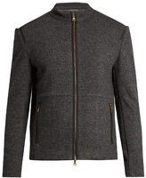 John Varvatos Zip-through Wool And Cotton-blend Bomber Jacket