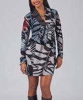 Aller Simplement Black & Gray Abstract V-Neck Shift Dress