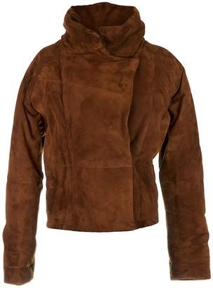 Zut London Suede Leather Padded Oversized Jacket - Cinamon