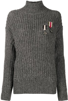 John Richmond Patch Detail High Neck Knit Jumper