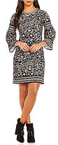 M.S.S.P. Double Knit Devore Printed Bell Sleeve Dress