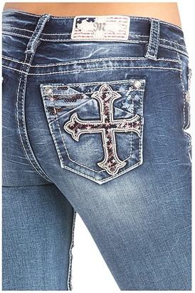 Miss Me Cross Embellished Skinny Jeans in Dark Blue (Dark Blue) Women's Jeans