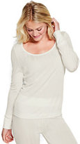 Classic Women's Petite Silk Pointelle Scoopneck Top-Ivory