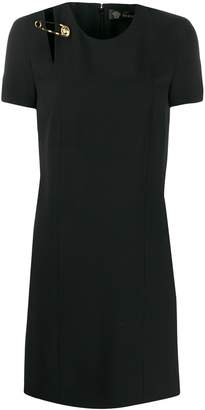 Versace medusa safety pin detailed dress