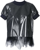 Kolor tulle trim T-shirt - women - Polyester/Wool - 1