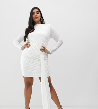 Club L London Plus slinky tie side ruched mini bodycon dress in white