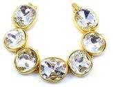 Kenneth Jay Lane Gold & Crystal Round Headlight Bracelet