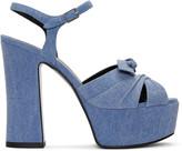 Saint Laurent Blue Denim Candy Bow Sandals
